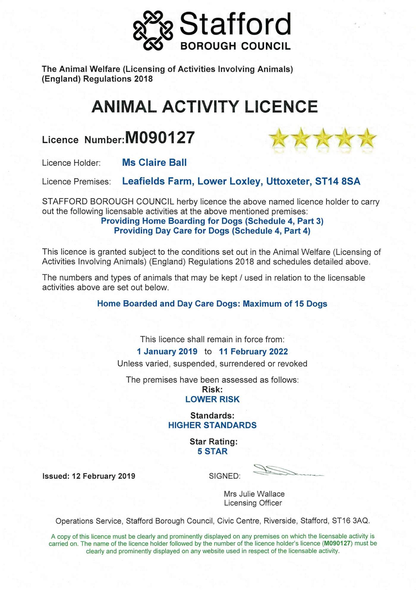 Leafeilds Dog Boarding in Uttoxeter Animal Activity Licence M090127