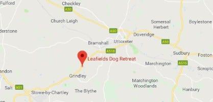 Small map Leafields Dog Boarding Kennels in Uttoxeter near Stafford
